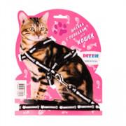 Dezzie комплект для кошек шлейка + поводок черный