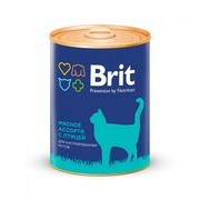 Brit консервы для кастрированных котов мясное ассорти с птицей
