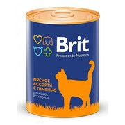 Brit консервы для кошек мясное ассорти с печенью