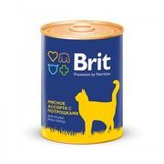 Brit консервы для кошек мясное ассорти с потрошками