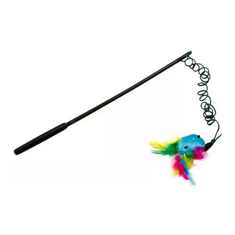 J.W. игрушка для кошек - Дразнилка с перьями, блестящая Wanderfuls