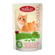Berkly-Cat фрикассе консервы для кошек ягненок и говядина с кусочками курицы и травами в соусе №5