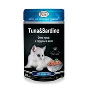 Gina Tuna&Sardine пауч для кошек (филе тунца и сардины в желе )