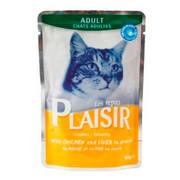 Plaisir консервы для кошек рагу с курицей и печенью в соусе (пауч)