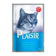 Plaisir консервы для кошек рагу с форелью и креветками в соусе (пауч)