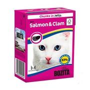 BOZITA консервы для кошек кусочки в желе с лососем и мидиями