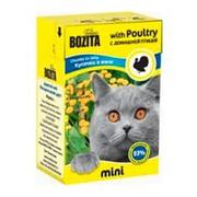 BOZITA Mini консервы для кошек кусочки в желе с домашней птицей