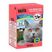 BOZITA Mini консервы для кошек кусочки в соусе мясной микс