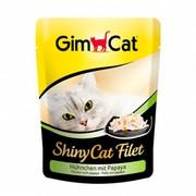 GimCat паучи ShinyCat Filet для кошек цыпленок с папайей