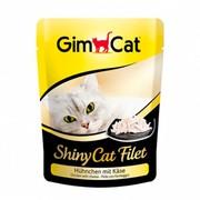 GimCat паучи ShinyCat Filet для кошек цыпленок с сыром