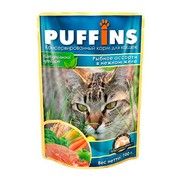 Puffins пауч для кошек рыбное ассорти в желе