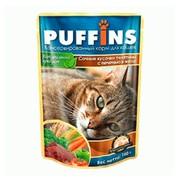 Puffins пауч для кошек телятина с печенью в желе
