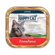 Happy Cat консервы для кошек паштет говядина кусочками (ламмистер)