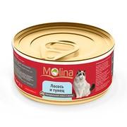 Molina консервы для кошек лосось с тунцом в желе