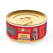Molina консервы для кошек тунец с креветками в желе