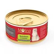 Molina консервы для кошек цыпленок с лососем в желе