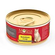 Molina консервы для кошек цыпленок с сыром в желе