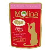 Molina пауч для кошек лосось и тунец в соусе