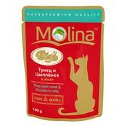 Molina пауч для кошек тунец и цыпленок в желе