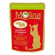 Molina пауч для кошек цыпленок и говядина в соусе