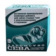 СеваВит витаминно-минеральная кормовая добавка для собак старше 7 лет с олигосахаридами и таурином