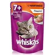 Whiskas консервы для кошек старше 7 лет мясной паштет из телятины