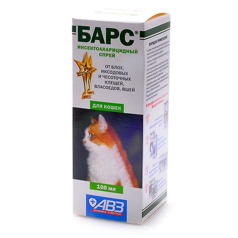 АВЗ Барс спрей для кошек инсектоакарицидный 100мл