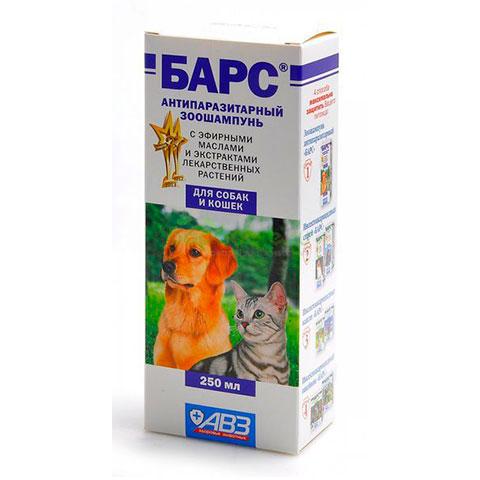 АВЗ Барс шампунь для собак и кошек от блох лечебный 250мл