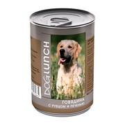 Dog Lunch консервы для собак говядина с рубцом и печенью в желе