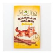 Molina лакомство для кошек жевательные колбаски с курицей