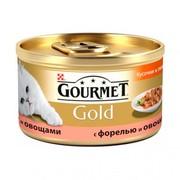 Консервы Gourmet Gold кусочки в подливке для кошек с форелью и овощами