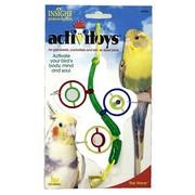 J.W. Игрушка для птиц - Веточка с зеркальцами, бусинками и колокольчиком, Activitoys The Wave