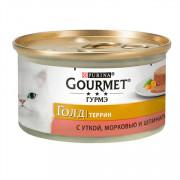 Консервы Gourmet Gold Террин кусочки в паштете для кошек с уткой, морковью и шпинатом по-французски