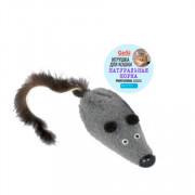 PETTO Игрушка - Мышь M с норковым хвостом, 6см, GoSi на картоне с еврослотом