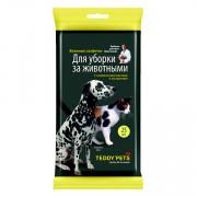 Teddy Pets влажные салфетки для уборки за животными, 25шт