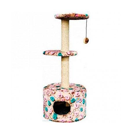Зооник Дом для кошки круглый, с 2-мя площадками, цветной мех