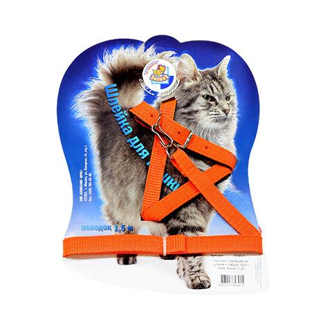 Зооник комплект поводок и шлейка для кошек, 14мм
