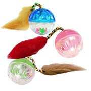 Beeztees Игрушка для кошек Мяч-погремушка с меховым хвостом, 4.5см