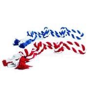 Beeztees Игрушка для собак Канат с 3-мя узлами красно-белый, бело-голубой, 600г, 67см