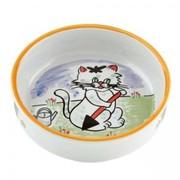 Beeztees Миска для кошек фарфоровая с изображением кошки, 300мл, 13см