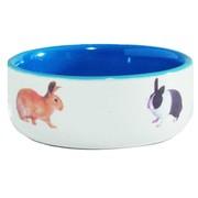 Beeztees Миска керамическая с изображением кролика, голубая, 300мл, 11,5см