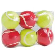 Beeztees Набор игрушек для собак Мячик теннисный, красный/желтый, 6.5см, 6шт