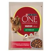 Purina One Мини, консервы для активных собак, говядина, картофель, морковь