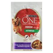 Purina One Мини, консервы для активных собак, утка, паста, фасоль
