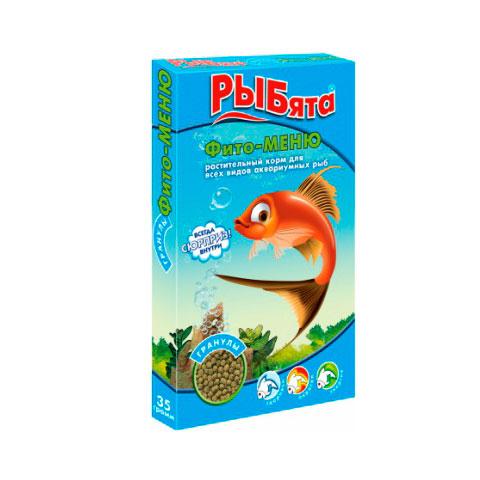 ЗООМИР РЫБята гранулы, растительный корм для рыб, коробка