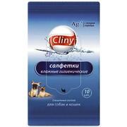 Cliny салфетки влажные для собак и кошек гигиенические, 10шт