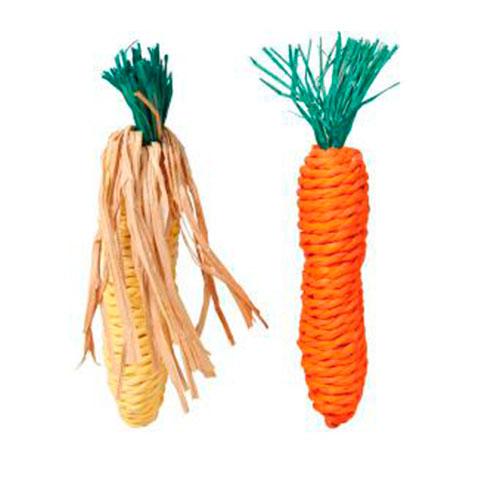 TRIXIE набор игрушек для грызунов морковь и кукуруза сизаль