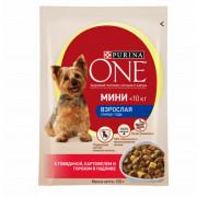 Purina One Мини Взрослая корм консервированный для собак с говядиной картофелем и горохом в подливе