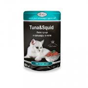 Gina Tuna and Squid корм консервированный для кошек филе тунца и кальмары в желе