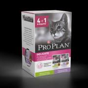 Промопак: Влажный корм Pro Plan для кошек с чувствительным пищеварением, с Индейкой, с Ягненком в соусе